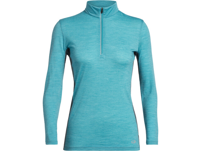 Icebreaker Amplify Camiseta manga larga 1/2 cremallera Mujer, arctic teal heather/nightfall heather